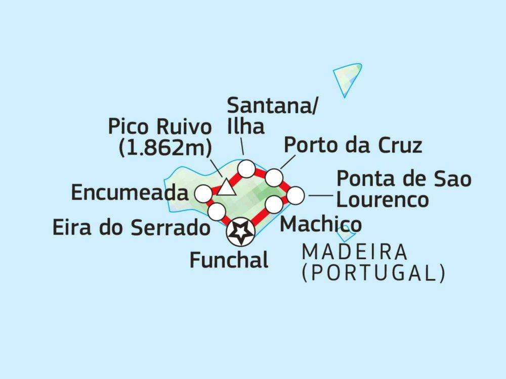 Wandern auf der Insel Madeira Karte