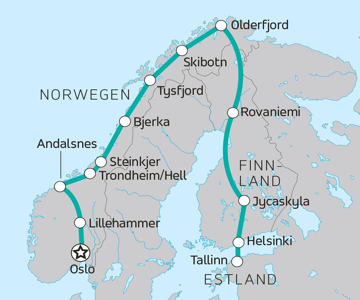 Polarkreis Alaska Karte.Erlebnisreise Von Oslo über Den Polarkreis Nach Tallinn
