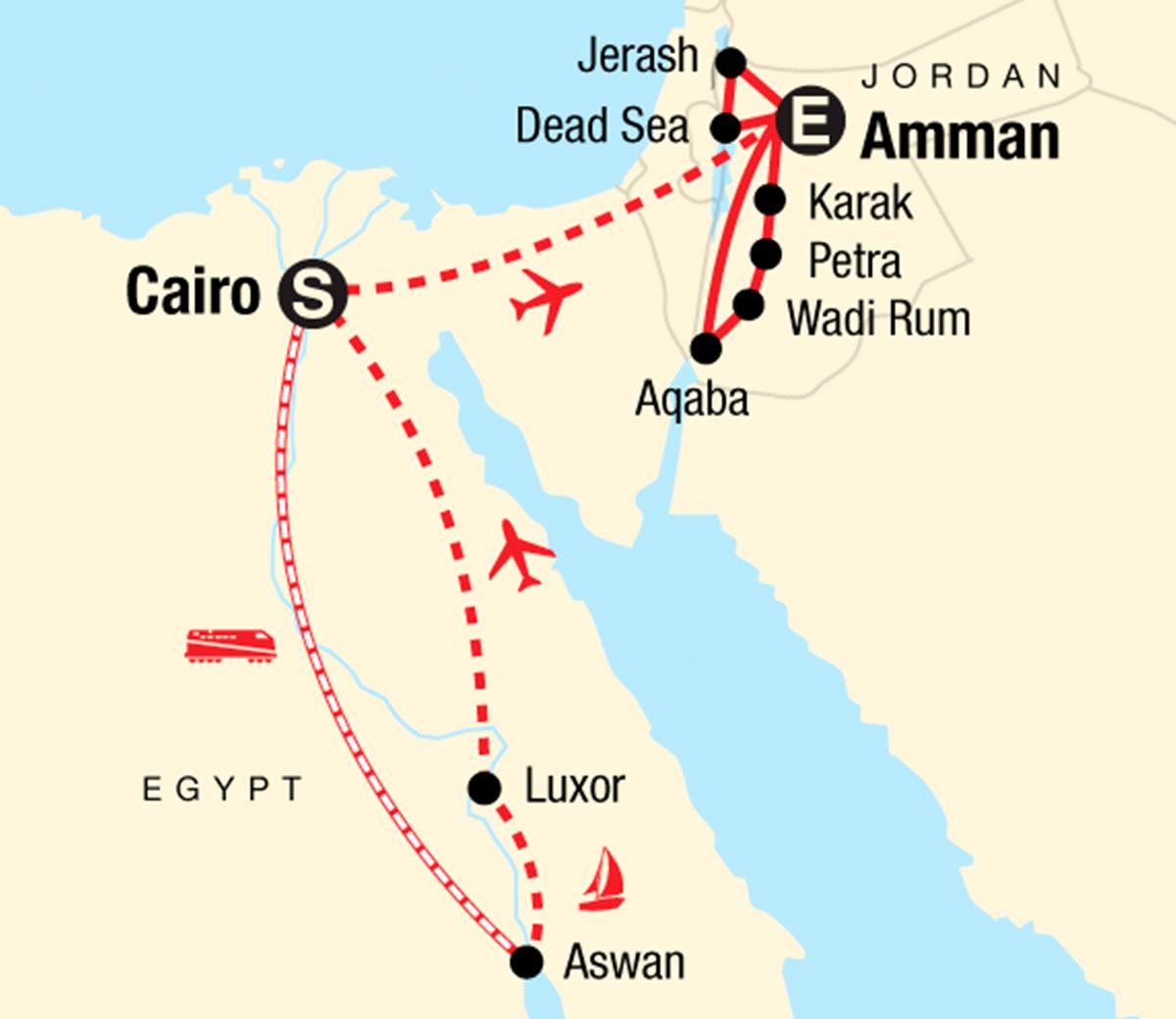 Jordanien Karte.Erlebnisreise Durch ägypten Und Jordanien