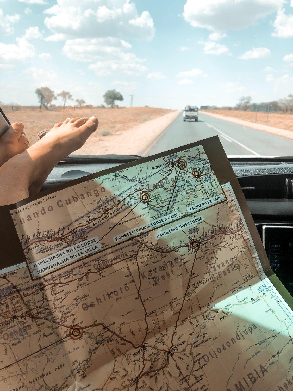 Offline Navigation bei der Reise mit dem Mietwagen durch Namibia