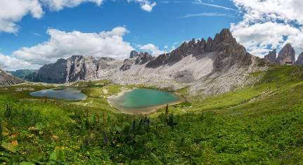 Bergpanorama in den Dolomiten von Tre Cime di Lavaredo