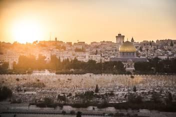 Tempelberg in Jerusalem bei Sonnenuntergang