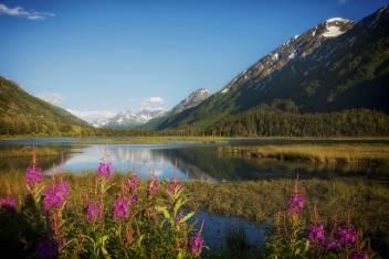 Gebirge und See in Alaska