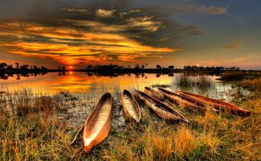 Okavango Sonnenuntergang
