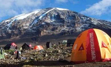 Zelte im Shira Camp mit Blick auf den Gipfel des Kilimandscharo