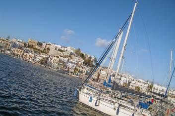 Naxos Segelboot im Hafen