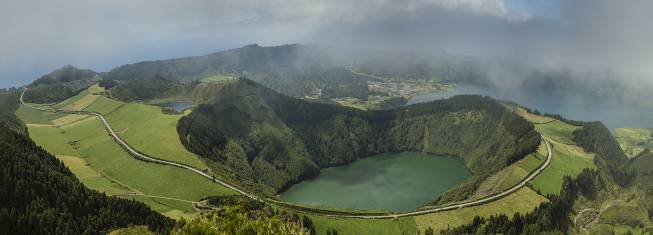 Twin Crater Seen Sao Miguel