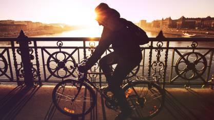 Radfahrer auf einer Brück über der Donau