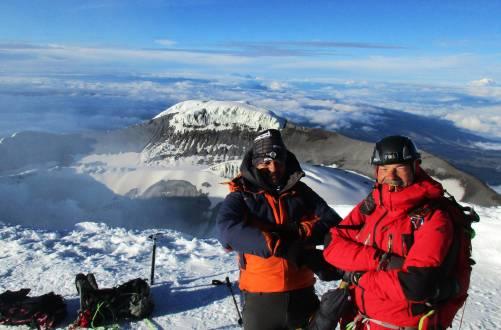Den Gipfel des Cotopaxi erfolgreich bezwungen