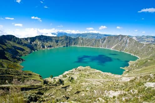 Laguna Quilotoa – ein auf 3800m Höhe geleger fast kreisrunder Kratersee