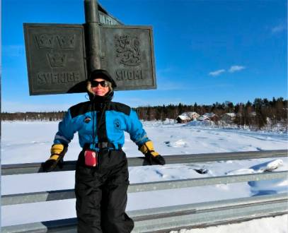 An der Grenze zwischen Schweden und Finnland im Winter